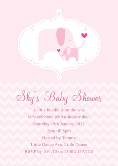 Personalised and custom girls baby shower invitations featuring a pink baby Elephant, on a beautiful pink background. Printed in Australia.