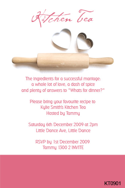 Personalised Kitchen Tea party invitations for sale online in Australia