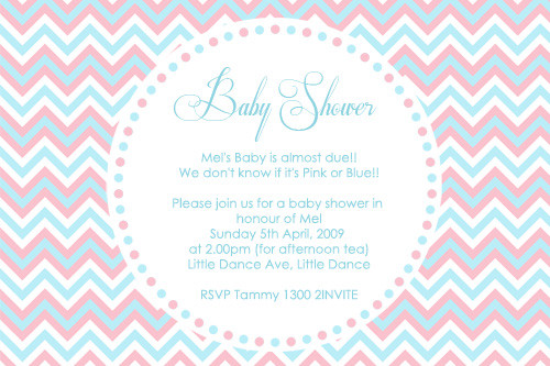 Personalised baby shower invitations for a Gender Reveal, on a pretty pink and blue chevron background. Printed in Australia.