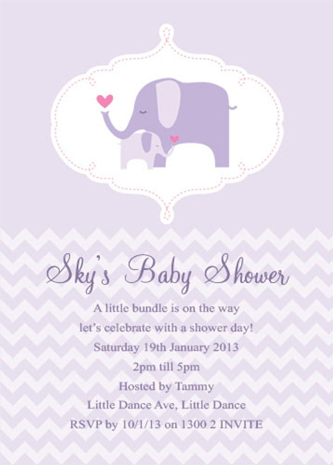 Personalised baby shower invitations featuring a cute baby Elephant, on a pretty purple or lilac background. Printed in Australia.
