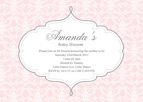 Personalised girls baby shower invitations featuring a damask pattern, in a pretty pink colour. Printed in Australia.