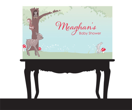Personalized baby forest animals themed birthday party banner. Printed in Australia. Buy with AfterPay, PayPal or Card