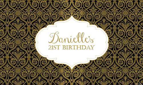 Personalized & custom adults birthday party banner with black & gold damask effect for sale online in Australia.