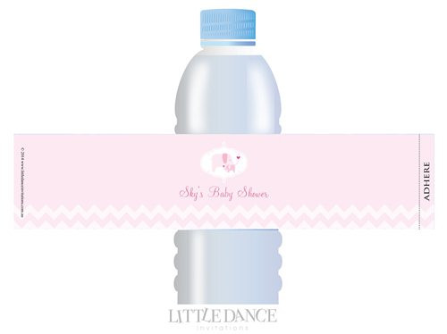 Pink Elephant theme personalised & custom baby shower water bottle labels for sale. Order online in Australia