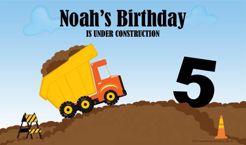 Personalized & custom boys birthday party banner. Construction truck theme. Printed in Australia.