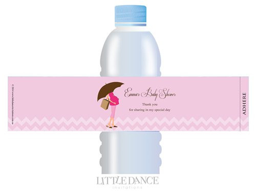 Pink Mum to Be theme personalised & custom baby shower water bottle labels for sale. Order online in Australia