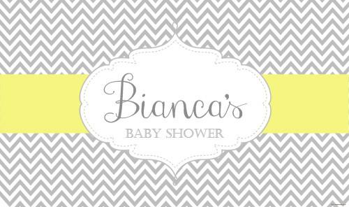 Baby shower banner. Grey and yellow chevron theme. Australian supplier