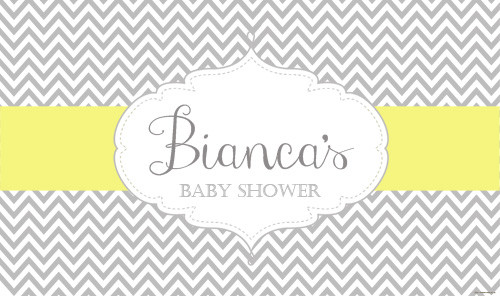 Personalized Baby shower banner. Grey and yellow chevron theme. Australian supplier. Printed in Melbourne. Buy with Afterpay, Paypal or card