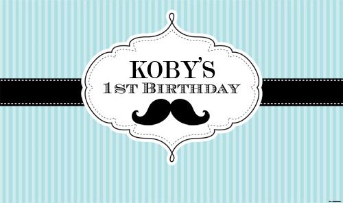Personalized birthday party banner - Little Moustache Man design. Buy online in Australia