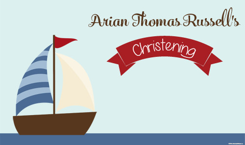 Personalized Christening or Baptism banner - nautical or boat theme design. For sale online in Australia