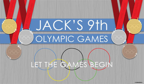 Personalized & custom birthday party banner. Olympic theme design for sale online in Australia.