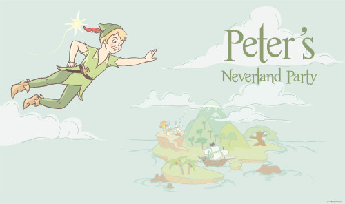 Personalized & custom kids birthday party banner. Your message and text. Peter Pan Neverland theme.