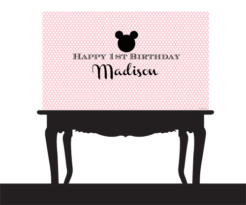 Personalized & custom adults or kids birthday party banner. Your message and text. Pink polka mouse earstheme.