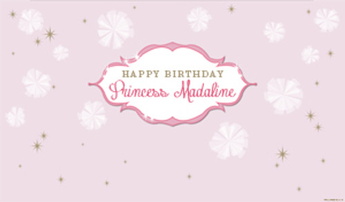 Personalized & custom adults or kids birthday party banner. Your message and text. Pink princess party theme.