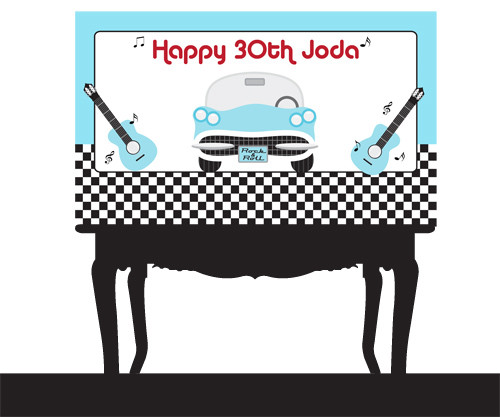 Personalized & custom adults or kids birthday party banner. Your message and text. Rock N Roll party theme.