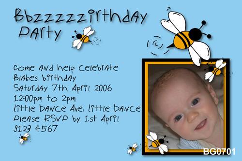 Kids birthday party photo invitation