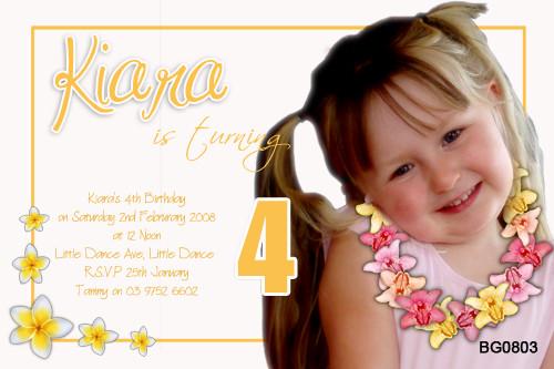 Frangipani Birthday Party Invitations