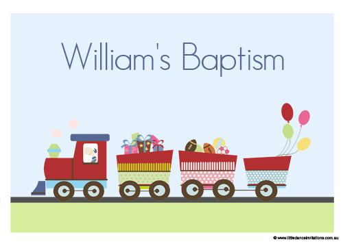 Personalised Baptism Christening Train Cake Icing sheet