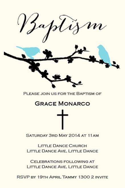Bluebirds Christening & Baptism Invitations. Order from an Australian online shop