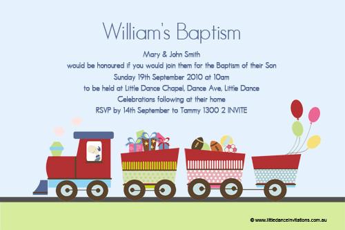 Train Themed Christening & Baptism Invitations. Order from our Australian online invitation printer