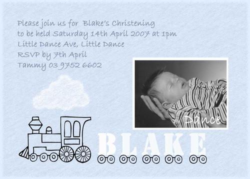 Train Themed Baptism & Christening Invitations, made using photos