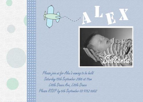 Aeroplane Baptism Christening Invitations