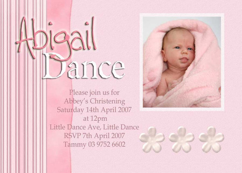 Pink Ribbon Baptism Christening & Naming Day Invitations. For sale online in Australia