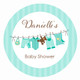 Green Baby Clothesline Party Labels & Stickers.