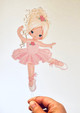 Blonde Ballerina ballet printed acrylic cake topper - Ballet or Ballerina birthday cake decoration. Made in Australia