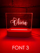 Custom Engraved Bedroom Night Lights With Name. Engraved in Australia.