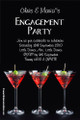 Personalised engagement party invitation - Martini theme. Australian online invitation shop